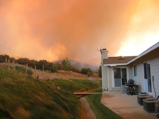 Watching the fire approach our house.